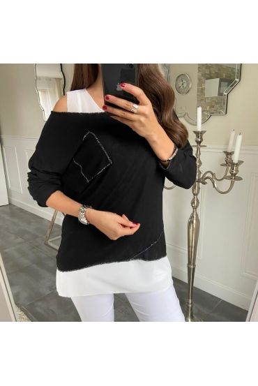 T-SHIRT 2 PIECES ARGENTE POCHE 5173 NOIR