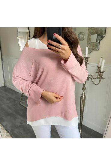 T-SHIRT 2 PIECES SILVER POCKET 5173 ROSE