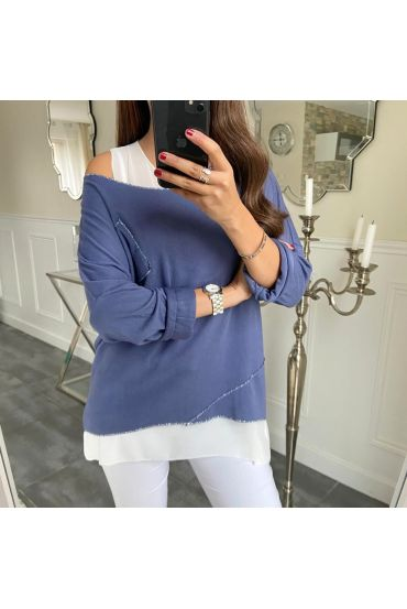 T-SHIRT 2 PIECES SILVER POCKET 5173 NAVY BLUE
