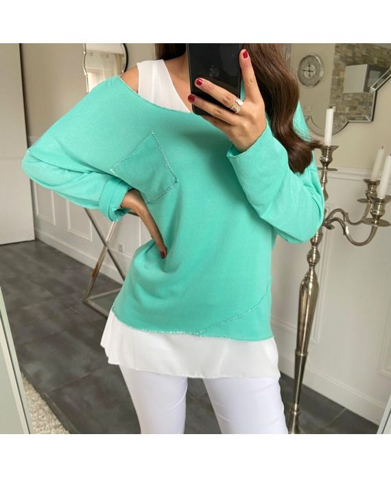 T-SHIRT 2 PIECES SILVER POCKET 5173 PASTEL GREEN