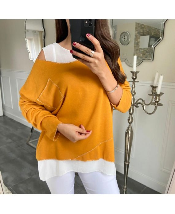 T-SHIRT 2 PIECES SILVER POCKET 5173 MUSTARD