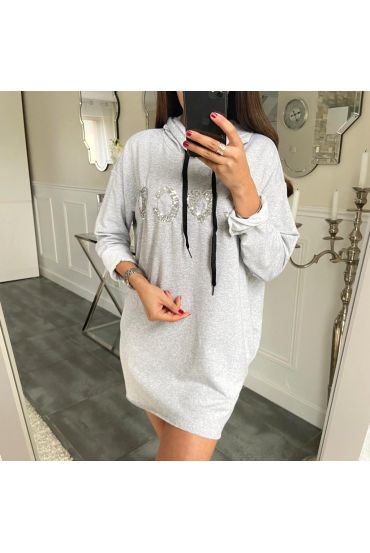 SWEATER LONG COCO RHINESTONE 5180 GRAY