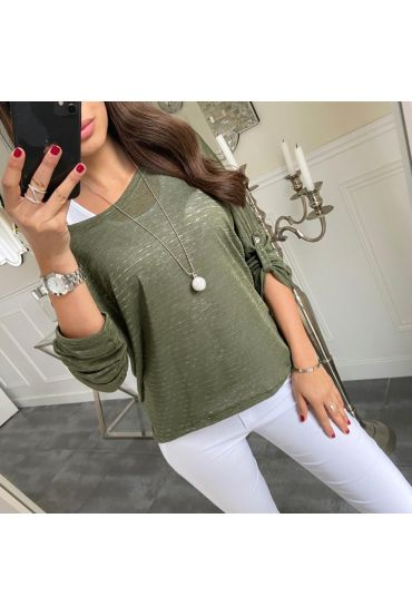 TOP 2 PIECES + NECKLACE 5181 GREEN MILITARY