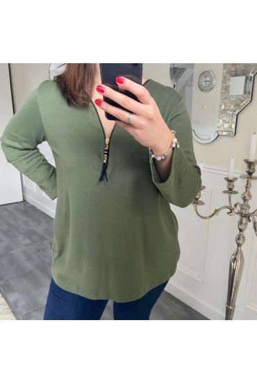 LARGE TOP ZIPS POMPOM 5194 GREEN MILITARY