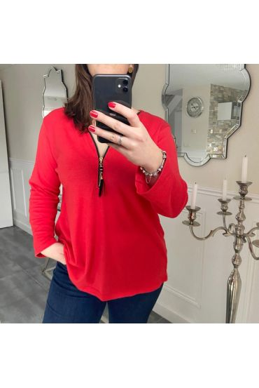 LARGE TOP ZIPS POMPOM 5194 RED