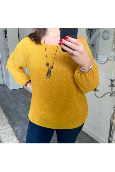 LARGE SIZE TUNIC CLOAK AND LACE + NECKLACE 5196 MUSTARD