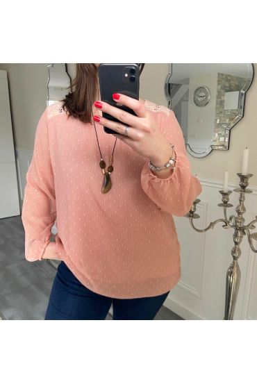 LARGE SIZE TUNIC CLOAK AND LACE + NECKLACE 5196 PINK