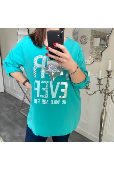 LARGE SIZE T-SHIRT FOR EVER 5187 BLUE LAGOON