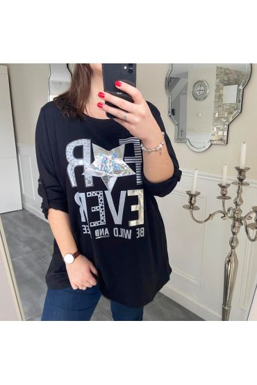 LARGE SIZE T-SHIRT FOR EVER 5187 BLACK