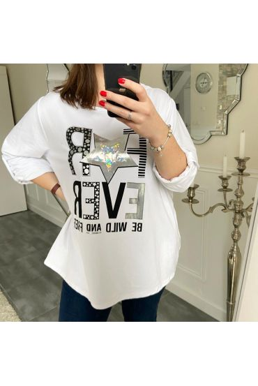 LARGE SIZE T-SHIRT FOR EVER 5187 WHITE
