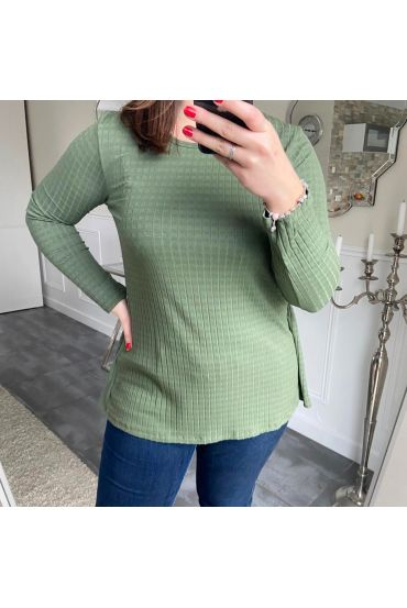 LARGE SIZE T-SHIRT BACK LACE 5186 GREEN MILITARY