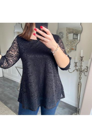 LARGE SIZE TUNIC TOP LACE 5185 BLACK