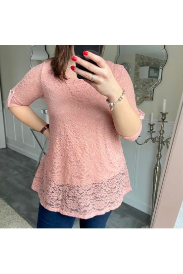 LARGE SIZE TUNIC TOP LACE 5185 ROSE