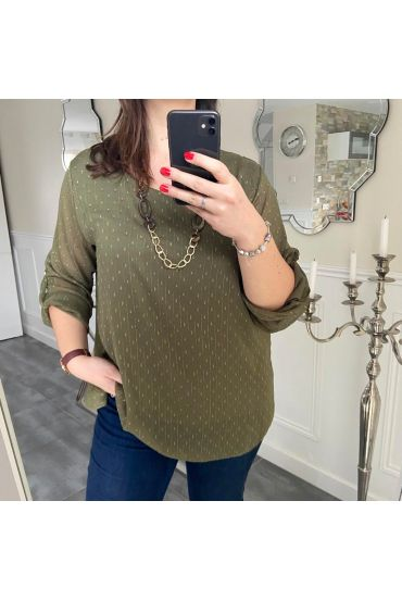 LARGE SIZE TUNIC CLOAK + NECKLACE 5184 GREEN MILITARY