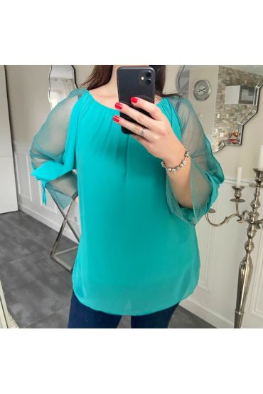 LARGE SIZE SLEEVED TOP FANTASY 5183 BLUE LAGOON