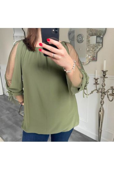 LARGE SIZE TOP EMANCHES FANTASY 5183 GREEN MILITARY