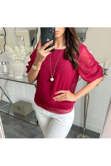 TOP PUFFY SLEEVES + COLLAR 5203 BORDEAUX