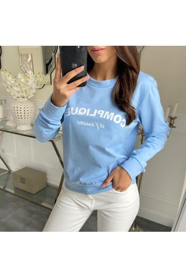 "PULL SWEAT ""complicated set AND I ASSUME"" 5206 BLUE SKY"