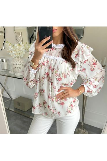 BLOUSE FLORAL 5210 WHITE