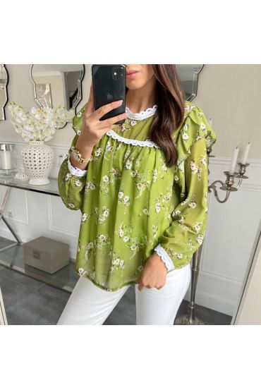 BLOUSE FLORAL 5210 LIME GREEN