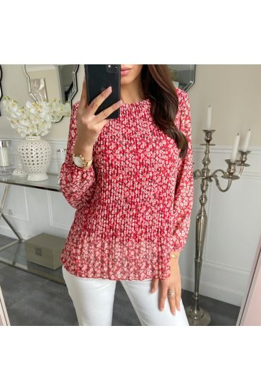BLOUSE PLEATS FLORAL 5202 RED