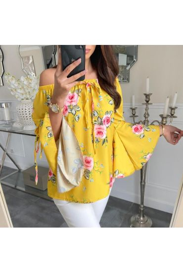 TUNIC FLORAL NECKLINE ELASTIQUEE 5208 YELLOW