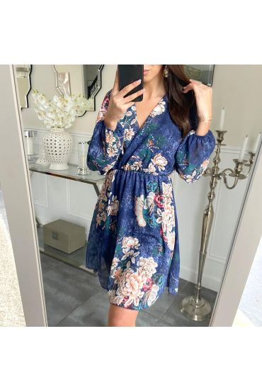DRESS PRINTED DRAPEE 5211 NAVY BLUE