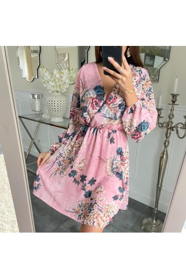 DRESS PRINTED DRAPEE 5211 PINK