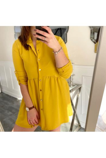 LARGE SIZE TUNIC DRESS HAS BUTTONS 5216 YELLOW
