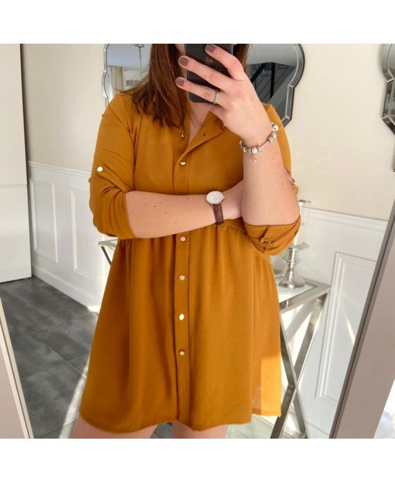 LARGE SIZE TUNIC DRESS HAS BUTTONS 5216 MUSTARD