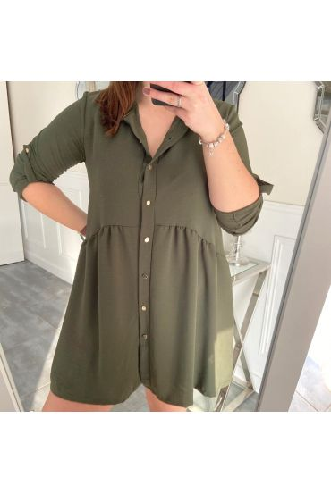 LARGE SIZE TUNIC DRESS HAS BUTTONS 5216 MILITARY GREEN