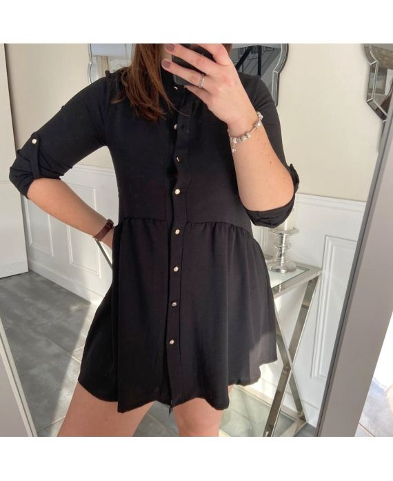 LARGE SIZE TUNIC DRESS HAS BUTTONS 5216 BLACK