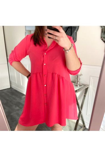 LARGE SIZE TUNIC DRESS HAS BUTTONS 5216 FUSHIA