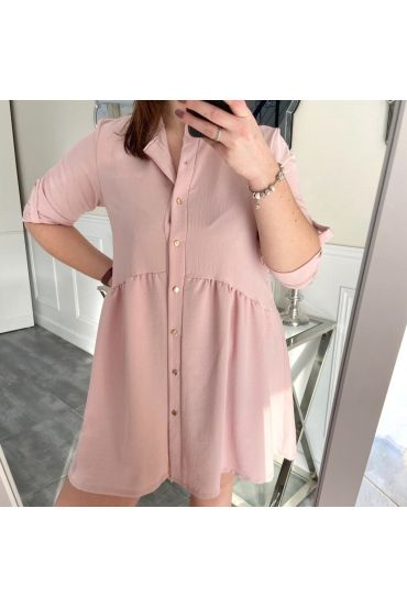 LARGE SIZE TUNIC DRESS HAS BUTTONS 5216-PINK