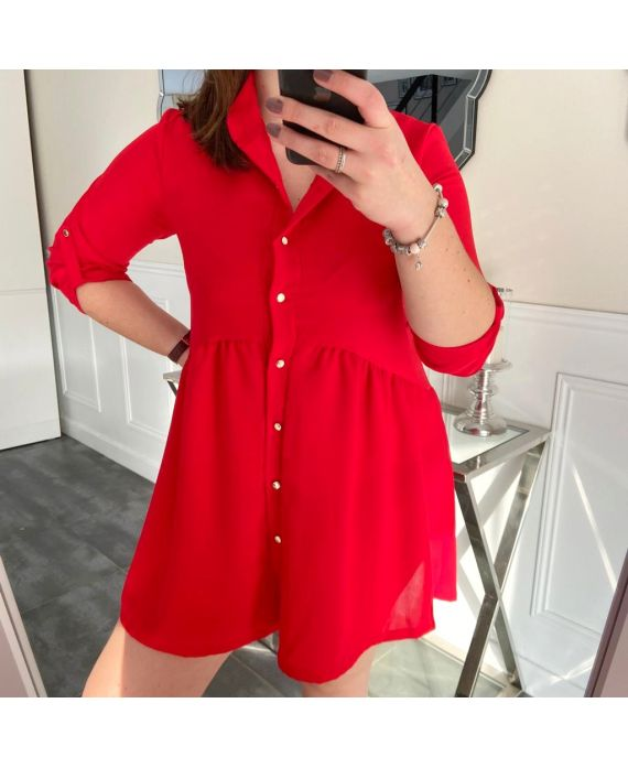 LARGE SIZE TUNIC DRESS HAS BUTTONS 5216 RED