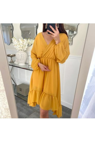 DRESS ASYMMETRIC COVER 5237 MUSTARD