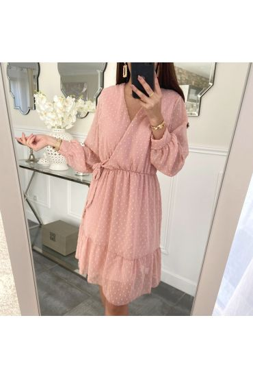 DRESS HAS KNOT ON THE SIDE OF 5221 PINK