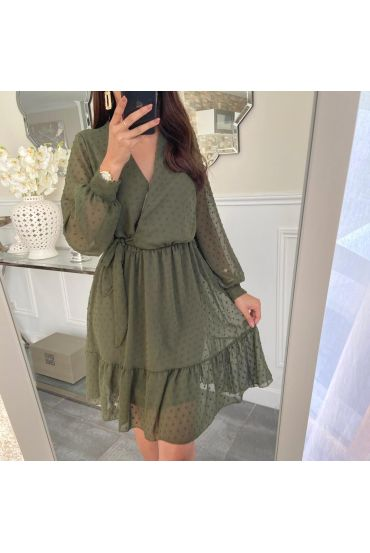 DRESS HAS KNOT ON THE SIDE OF 5221 MILITARY GREEN