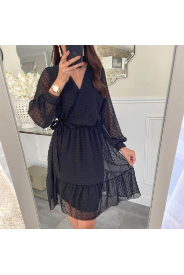 DRESS HAS KNOT ON THE SIDE OF 5221 BLACK