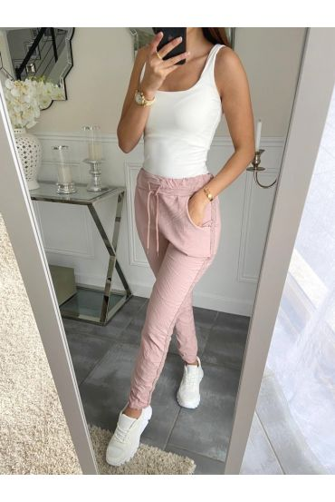PANTS EFFECT WRINKLES A BAND PAILLETEE 5228 PINK
