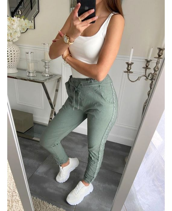 PANTS EFFECT WRINKLES A BAND PAILLETEE 5228 MILITARY GREEN