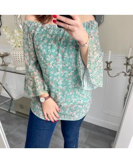 LARGE SIZE TUNIC FLOWERS 5248 GREEN