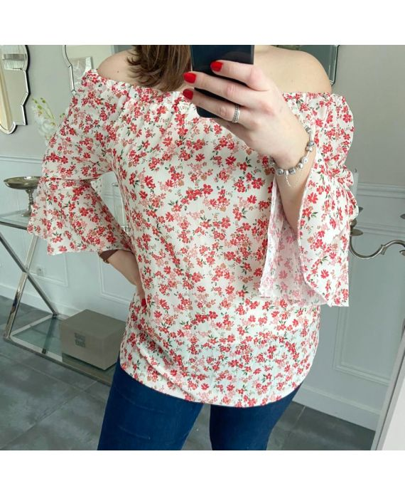 LARGE SIZE TUNIC FLOWERS 5248 WHITE