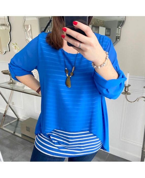LARGE SIZE TUNIC MARINIERE SUPERPOSEE + NECKLACE 5219 ROYAL BLUE