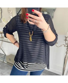 LARGE SIZE TUNIC MARINIERE SUPERPOSEE + NECKLACE 5219 BLACK