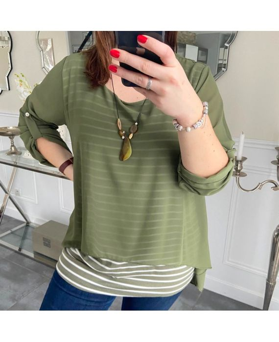 LARGE SIZE TUNIC MARINIERE SUPERPOSEE + NECKLACE 5219 MILITARY GREEN