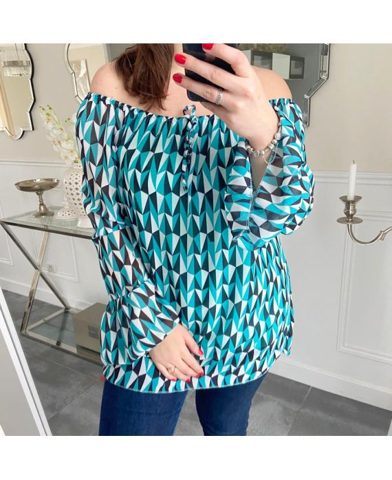LARGE SIZE TUNIC PRINTS GEOMETRICS 5253 BLUE LAGOON