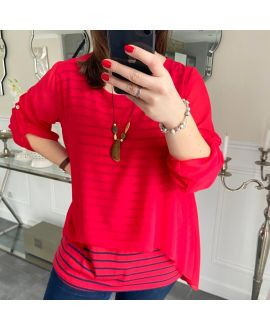 LARGE SIZE TUNIC MARINIERE SUPERPOSEE + NECKLACE 5219 RED