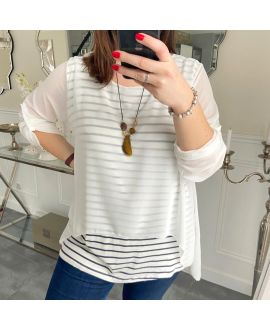 LARGE SIZE TUNIC MARINIERE SUPERPOSEE + NECKLACE 5219 WHITE