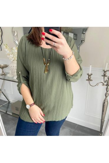 LARGE SIZE TUNIC PLEATS + NECKLACE 5218 MILITARY GREEN